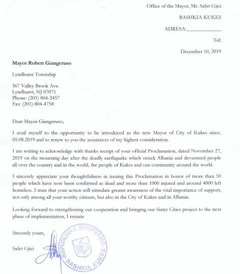 Kryetari  i Bashkise Kukës Safet Gjici i dergon leter falenderimi Kryetarit te Lyndhurst Township Robert Giangeruso